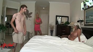 Young man slams his meat to mom and granny  MILFs  in family affair