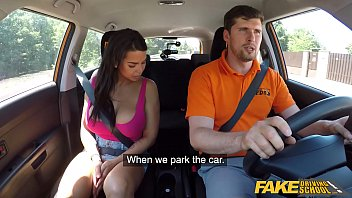 Fake Driving School hot brunette with massive tits