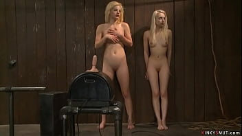 Domme Princess Donna Dolore and master and director of live show Matt Williams made blonde lesbian sluts Ally Ann and Ashley Jane lick in sixtynine position on device bondage