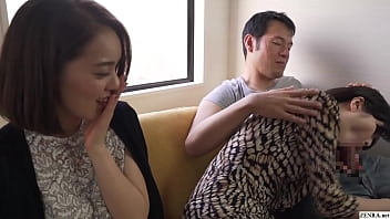 Japanese mother suffering from a lack of sex loses all inhibition when seeing an especially large erection and decides to blow it even while her surprised step daughter watches and soon joins in