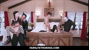 The Addams Family Group Sex Parody For Halloween With Audrey Noir