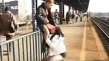 Girls in public at Train Station