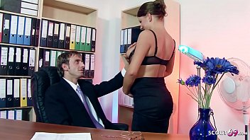 Bouncing Big Tits Nympho Office Girl Seduce to Sex by Boss