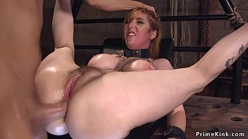Director vibrates pussy to huge tits redhead actress then in bondage anal fucks her