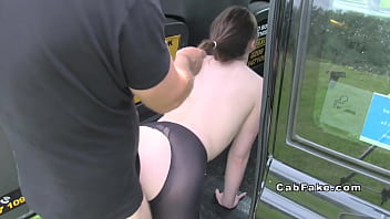 brunette in tights bangs fake taxi
