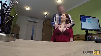 LOAN4K. Incredible redhead gladly sucks and rides dick to get money