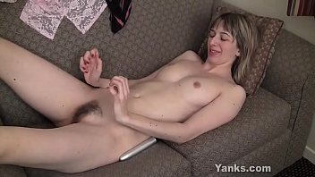 Excited blonde honey Alice toying her hairy beaver to orgasm