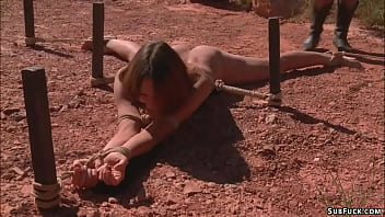 Deviant couple Maestro and Claire Adams picked up hitchhiker Amber Rayne on highway and brought her in desert and tormented her in bondage