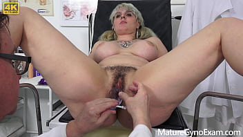 Sarah Star gets her hairy senior cunt examined by freaky doctor