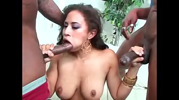 Amazing chocolate bitch sucks huge ebony cock and take another in her asshole