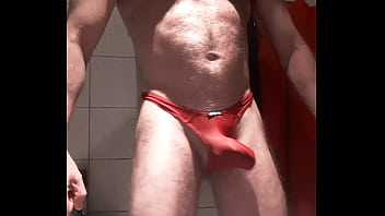 MUSLED HAIRY DADDY IN RED THONG