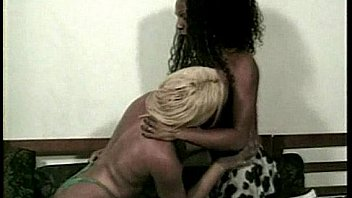 Two black she-males having hardcore sex