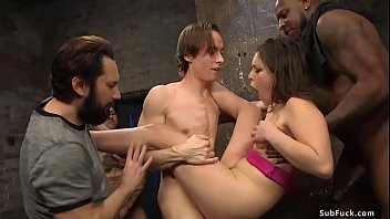 On movie bdsm set sexy hairy pussy brunette slut Juliette March is taken by interracial film crew and anal gangbang fucked by their big dicks