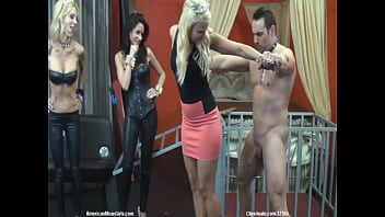 Goddess Shows Off Her Power Over Her Slave to Her Friends By icking it in the Balls With SPIKED Shoes!