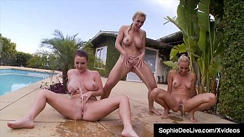 Wet, Horny, Hot Lesbian Girls Sophie Dee, Tanya Tate & Sandy, Suck, Lick & Eat Each Other's Pussy, Tits, Ass, & Feet while hanging In & out of the Poo