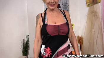 Aged gilf Inke from Europe aims to please you in black stockings and crotchless panties (brand NEW video available in Full HD 1080P). Bonus video: Euro milf Ellis.
