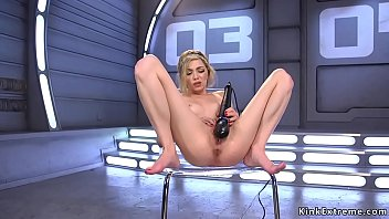 Watch Slim solo blonde hottie Angel Smalls spreads legs on the sofa and in her shaved and squirting pussy_shoves fucking machine preview