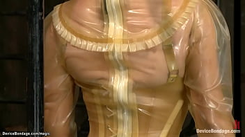 Lesbian slave in all latex suit tormented by Mz Berlin then second slave in back arch bondage zippered and third ebony slut whipped by master Orlando
