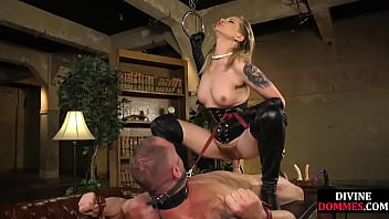 Mistress teasing bound subject before fucking him on table