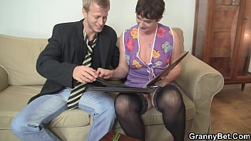 Young guy big cock in mother-in-law's old hole
