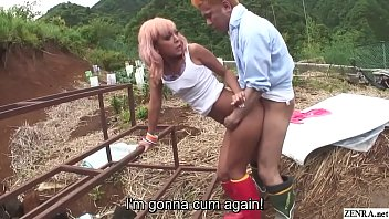 Uncensored JAV featuring insanely tan Japanese gyaru having raw sex outside starting with reverse cowgirl and moving to standing doggystyle sex in HD with English subtitles