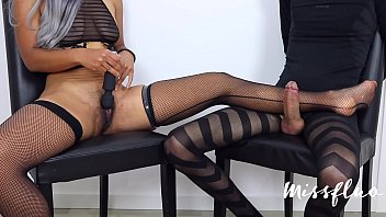 Slave Tied and Denied while girl have orgasm contractions hairy pussy