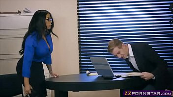 Busty latina MILF fucks the bank clerk to get a loan