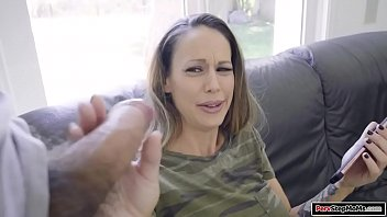 Stepson shows his stepmom he has a big cock and the busty milf gives him a handjob.The brunette gives him a blowjob and he fucks her shaved pussy