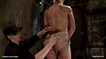 Flexible big tits brunette lesbian slave Felony is gagged and tight tied in back arch challenging position and hogtie by lezdom Claire Adams