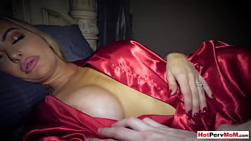 Classsy cougar stepmother moaning on her sons big cock