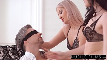 teaching daddy a lesson by tying him up and taking turns riding his cock