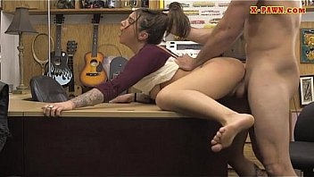 brunette babe nailed at the pawnshop