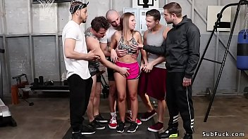 Huge tits long haired blonde fitness babe Britney Amber surrounded by few guys at the gym and in rope bondage got anal gangbang fucked in locker room