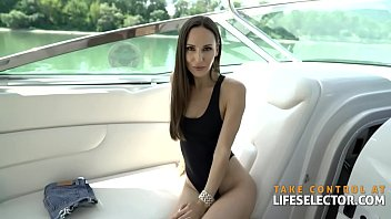 Slim and fully shaved brunette Lilu Moon gets assfucked on a yacht in POV