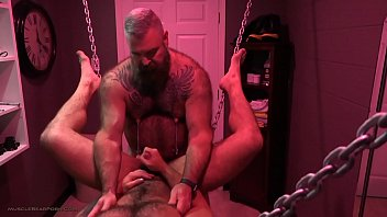 Hunny Bear plays with Daddy Will's fat swollen nipples