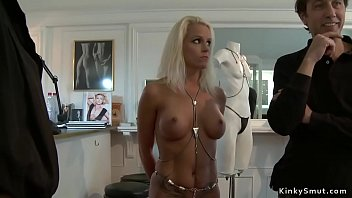 Busty blonde Euro slave Milf d. in public outdoor then whipped by master Steve Holmes