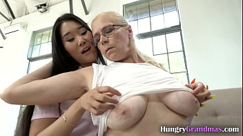 Classy blonde lesbian MILF hungry for hot Asian ass