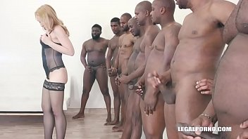 Rebecca Sharon goes balls deep & double anal with 8 black guys IV288