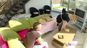 Blonde cleaning lady banged
