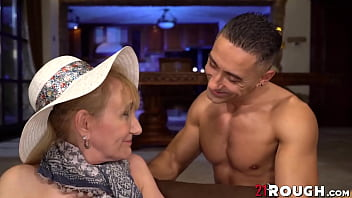 Mature granny hammered by young stud
