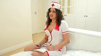 Sexy nurse gives sloppy blowjob and swallows massive cum load