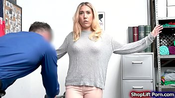 Teen blonde is arrested by LP officer for stealing the key of the store.The officer conducts a strip search and he founds the key inside her panty.After that,the officer tells her that he wont call the cops if she sucks his dick and let him fuck her.