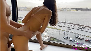 Brunette Sucking Dick and Fucking on the Balcony