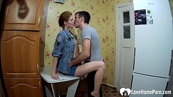 Homemade video of married Russian couple getting hardcore fuck session in the kitchen