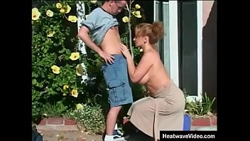 Naughty mom with huge tits gets fucked by her daughter's boyfriend in backyard