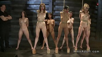 Group of naked slaves suffering...