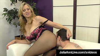 Gorgeous Busty Blonde Milf Julia Ann tortures a Limp Dicked Slave, teasing & making him wait until she is good &  ready to rub his Cock with Her Feet! Thumbnail