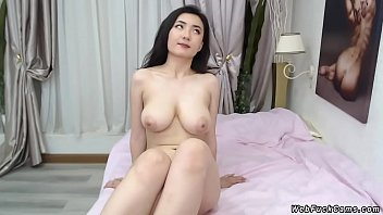 All natural beautiful amateur Asian young babe with nice pair of tits stripping and dancing in her bedroom in private webcam show homemade