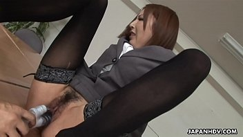 Sweet office lady with sensual lips, Emiri Mizukawa gave a blowjob to her boss, while they were alone in his office and enjoyed the way he was toying her wet pussy to please her.