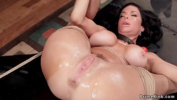 Huge tits brunette nympho Milf gagged while sitting in chair in bondage